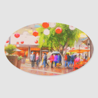 Little Tokyo Japanese village Painting Oval Sticker