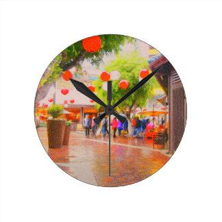 Little Tokyo Japanese village Painting Round Clock