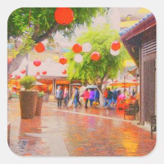 Little Tokyo Japanese village Painting Square Sticker