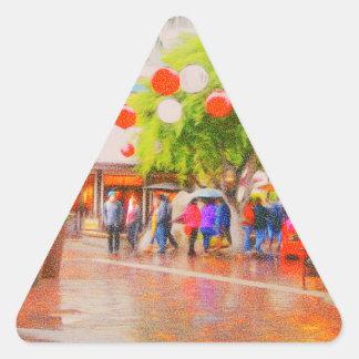 Little Tokyo Japanese village Painting Triangle Sticker