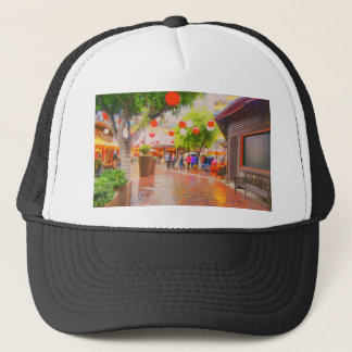 Little Tokyo Japanese village Painting Trucker Hat
