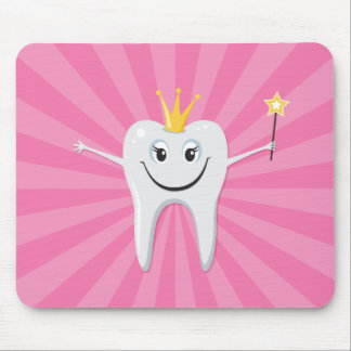Little tooth fairy on a pink sunburst background mouse pad
