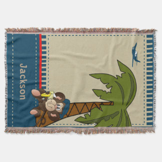 Little Tropical Monkey Throw Blanket