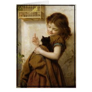 Little Tuscan Girl with Kitten and Bird Card