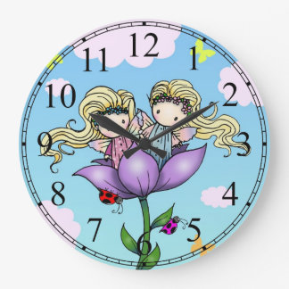 Little Twin Fairy Girls Wall Clock