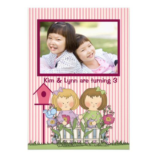 Little Twin Gardeners - Photo Birthday Party  Invi Personalized Announcements