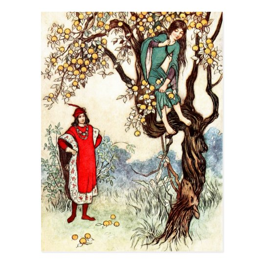 Little Two-eyes hands a branch to the Knight Postcard