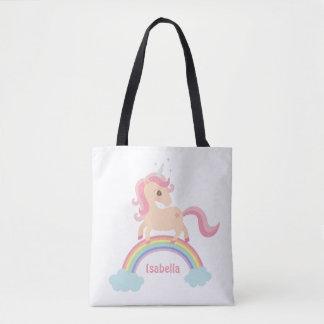 Little Unicorn with Star on Rainbow Girls Tote