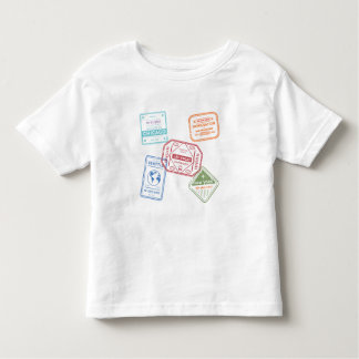 Little USA Travel Passport Stamps Toddler T-Shirt