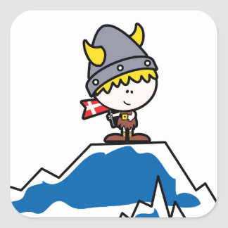 Little Viking Boy Square Sticker
