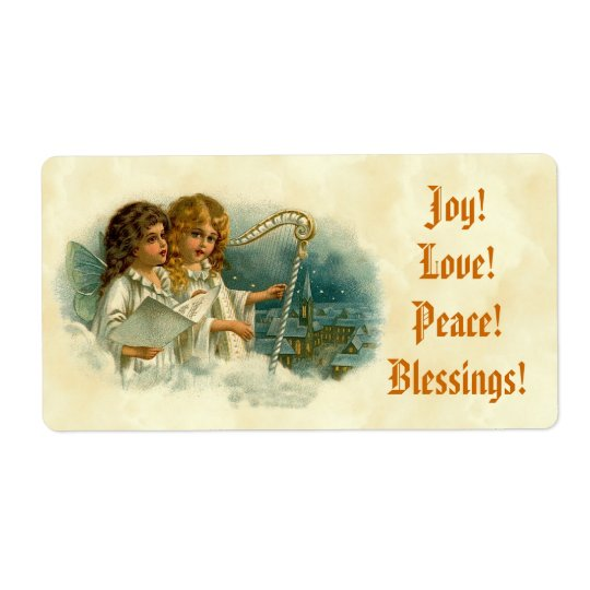 Little Vintage Angels and Harp Blessings Joy Love