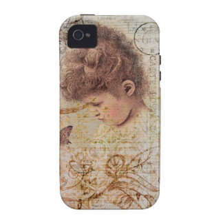 Little Vintage Girl Swirls Postage Artwork Case For The iPhone 4