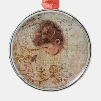 Little Vintage Girl Swirls Postage Artwork Christmas Ornament