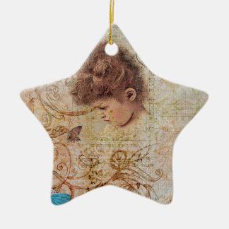 Little Vintage Girl Swirls Postage Artwork Christmas Tree Ornament