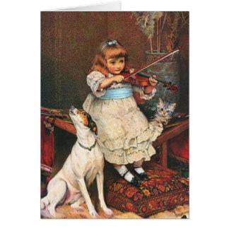 Little Violinist & Howling Dog, Card