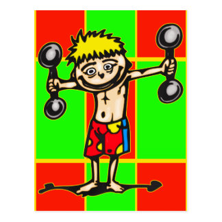 Little Weightlifting Boy Postcard
