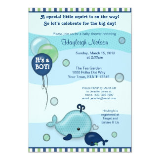 Little Whale Baby and Mommy kiss Baby Shower 13 Cm X 18 Cm Invitation Card