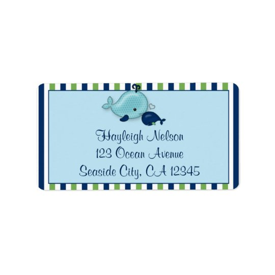 Little Whale Baby Mummy Kiss Address Label