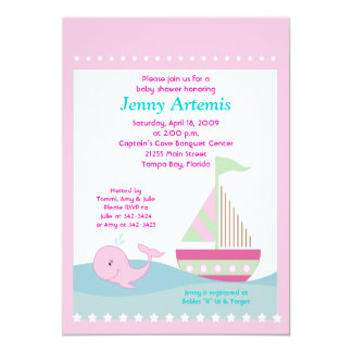 Little Whale Pink Sailboat Baby Shower 5x7 13 Cm X 18 Cm Invitation Card