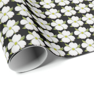 Little White Dogwood Flowers Wrapping Paper