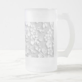 Little White Flowers Frosted Glass Beer Mug