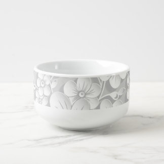 Little White Flowers Soup Bowl With Handle