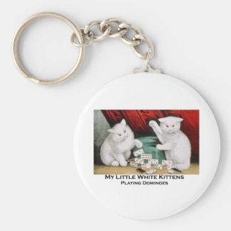 Little White Kittens Playing Dominoes Key Ring
