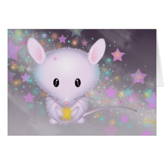 Little White Mouse in the Stars Card