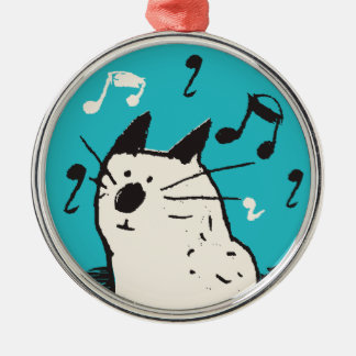 Little White Music Cat Ornament (Premium Round)