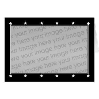 Little White Stars on Black (photo frame) Greeting Card