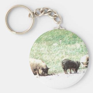 Little Wild Pigs Sketch Basic Round Button Key Ring