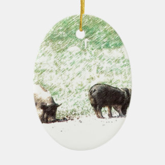 Little Wild Pigs Sketch Ceramic Oval Decoration