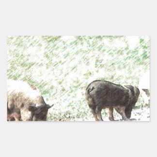 Little Wild Pigs Sketch Rectangular Sticker