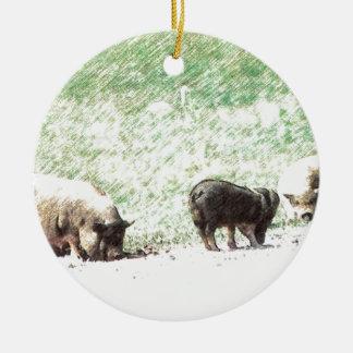 Little Wild Pigs Sketch Round Ceramic Decoration
