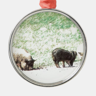 Little Wild Pigs Sketch Silver-Colored Round Decoration