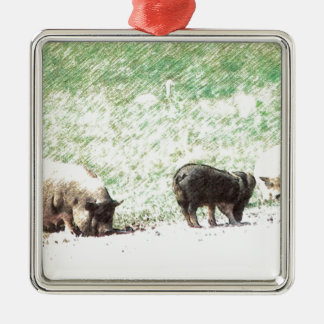 Little Wild Pigs Sketch Silver-Colored Square Decoration