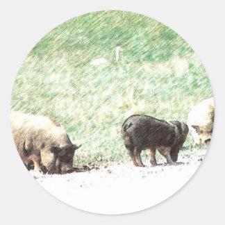 Little Wild Pigs Sketch Round Stickers