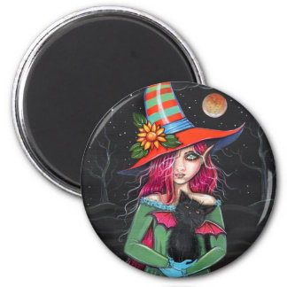 Little Wings Witch and Winged Cat Halloween Art 6 Cm Round Magnet