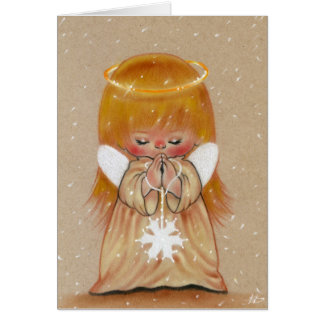 Little winter angel in snow christmas card