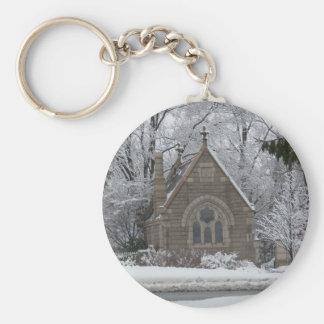 Little Winter Chapel on the go Basic Round Button Key Ring