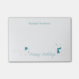 Little Winter Foxes Happy Holidays Personalized Post-it Notes