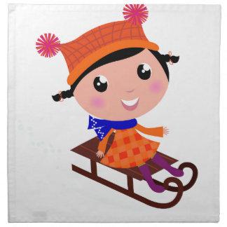 LITTLE WINTER GIRL : Mariisha Original art Napkin