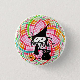little witch and sacred geometry 3 cm round badge
