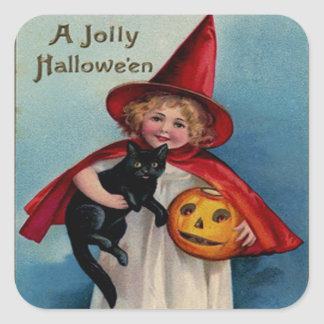 Little Witch Girl With Her Black Cat Square Sticker