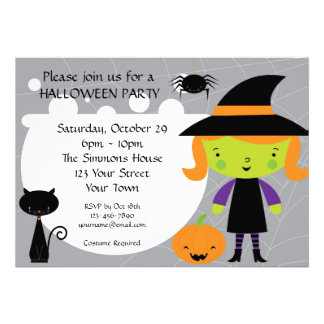 Little Witch Halloween Party Invites