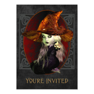 Little Witch Halloween Party Medium Invitation