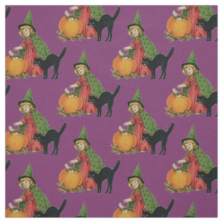 Little Witch Her Black Cat and Pumpkin - Purple Fabric