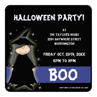 Little Witch Kid's Halloween Party Invitation