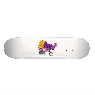 Little witch on pumpkin with kitten 19.7 cm skateboard deck