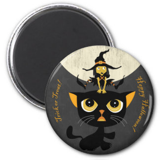 Little Witch Playing Leap Frog with Black Cat 6 Cm Round Magnet